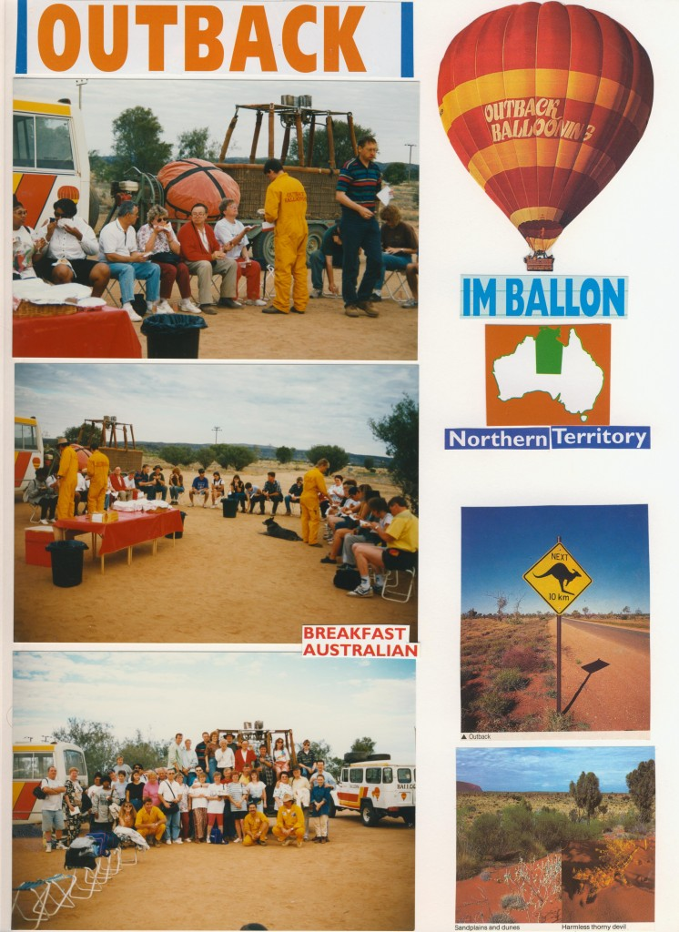 Sonnenaufgang über Australien mit dem Heißluftballon.