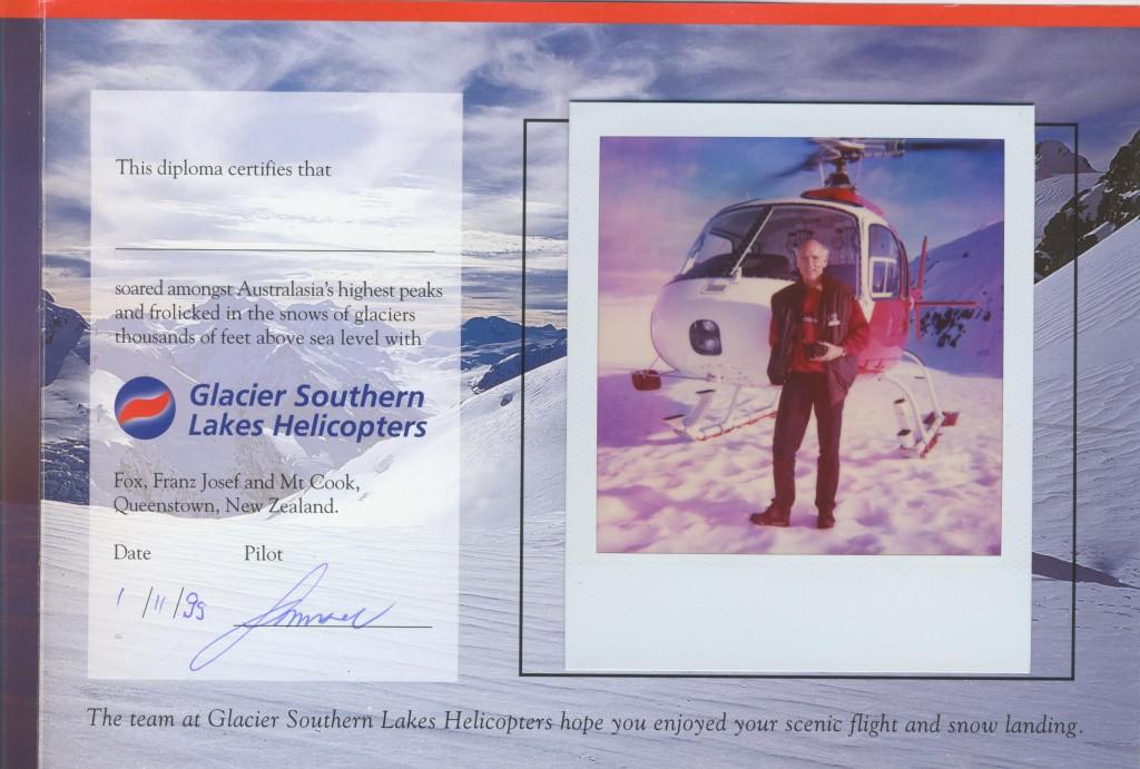Helmut Gletscher Zertifikat